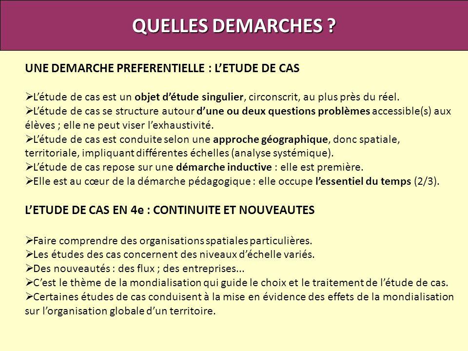 QUELLES DEMARCHES UNE DEMARCHE PREFERENTIELLE : L'ETUDE DE CAS