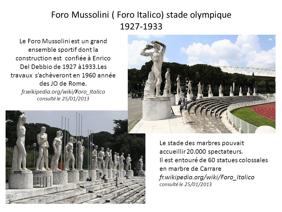Foro Mussolini ( Foro Italico) stade olympique 1927-1933