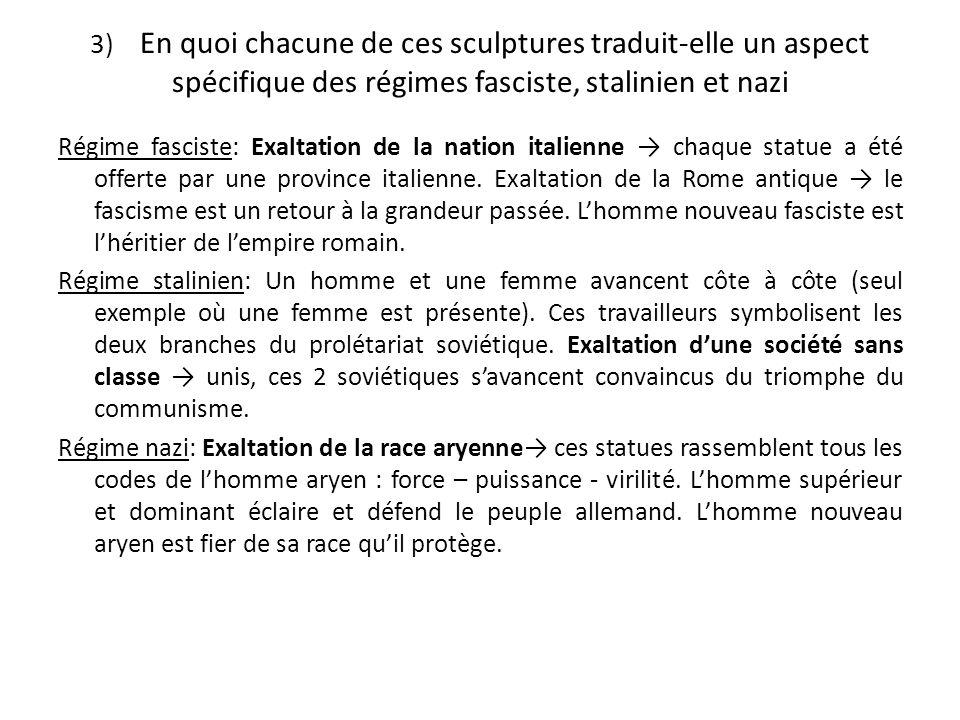 3) En quoi chacune de ces sculptures traduit-elle un aspect spécifique des régimes fasciste, stalinien et nazi