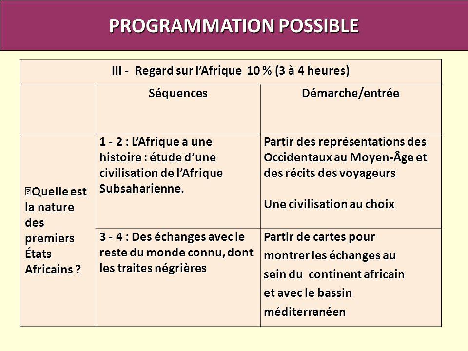 PROGRAMMATION POSSIBLE III - Regard sur l'Afrique 10 % (3 à 4 heures)