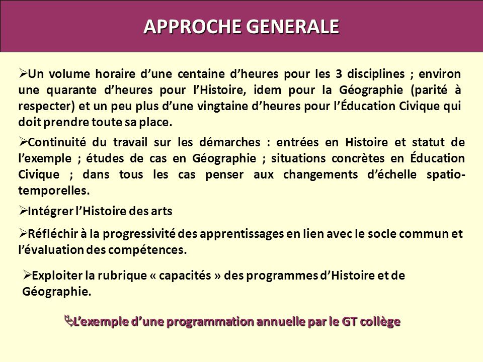 L'exemple d'une programmation annuelle par le GT collège