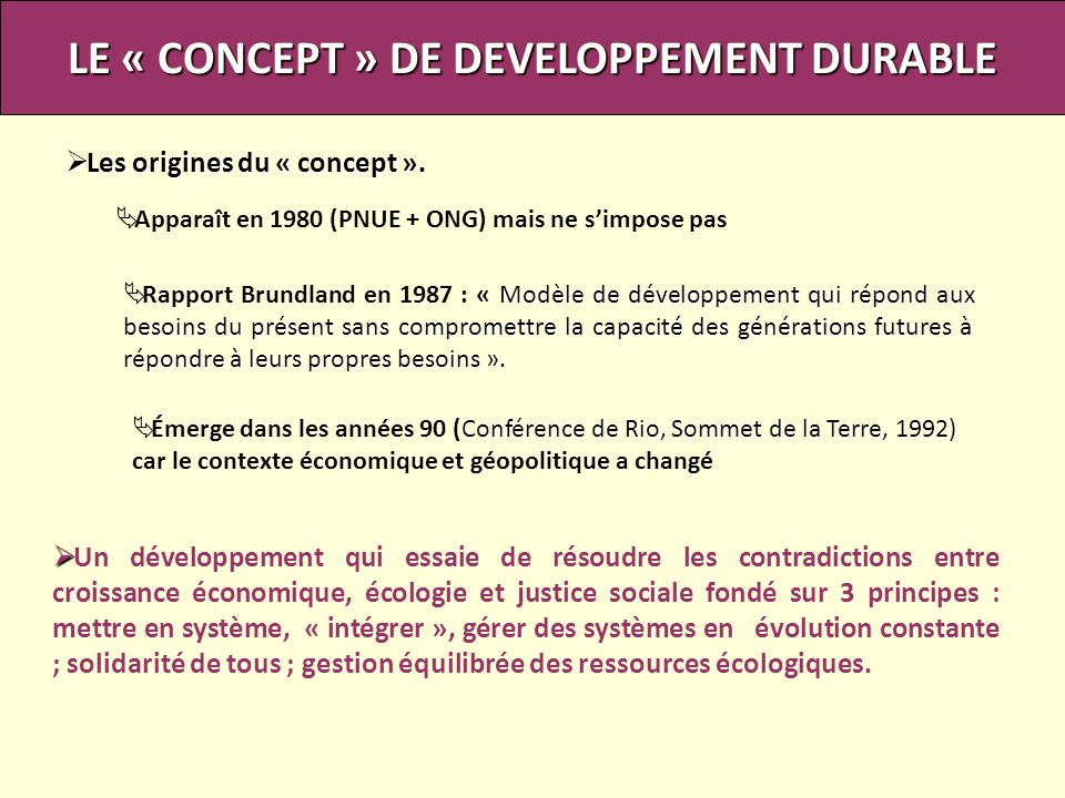 LE « CONCEPT » DE DEVELOPPEMENT DURABLE