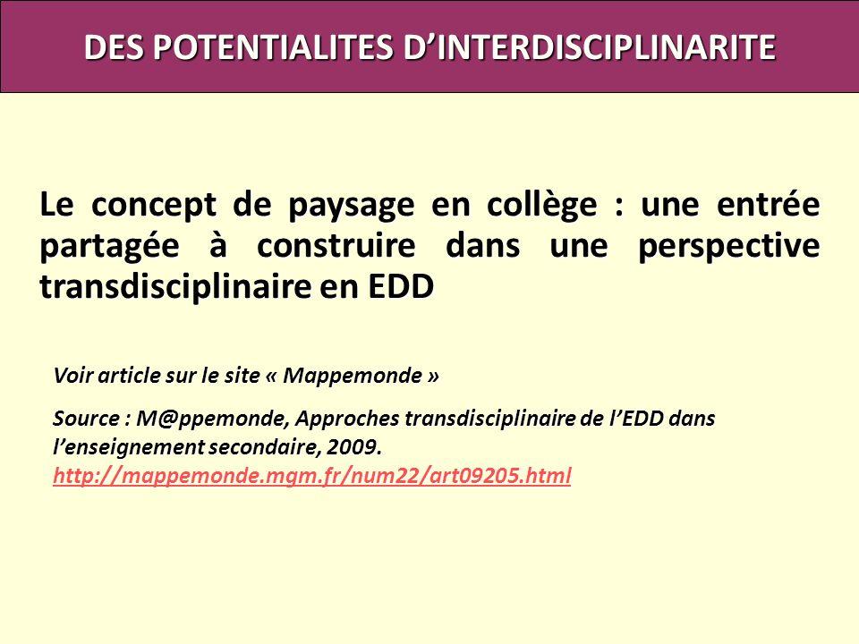 DES POTENTIALITES D'INTERDISCIPLINARITE