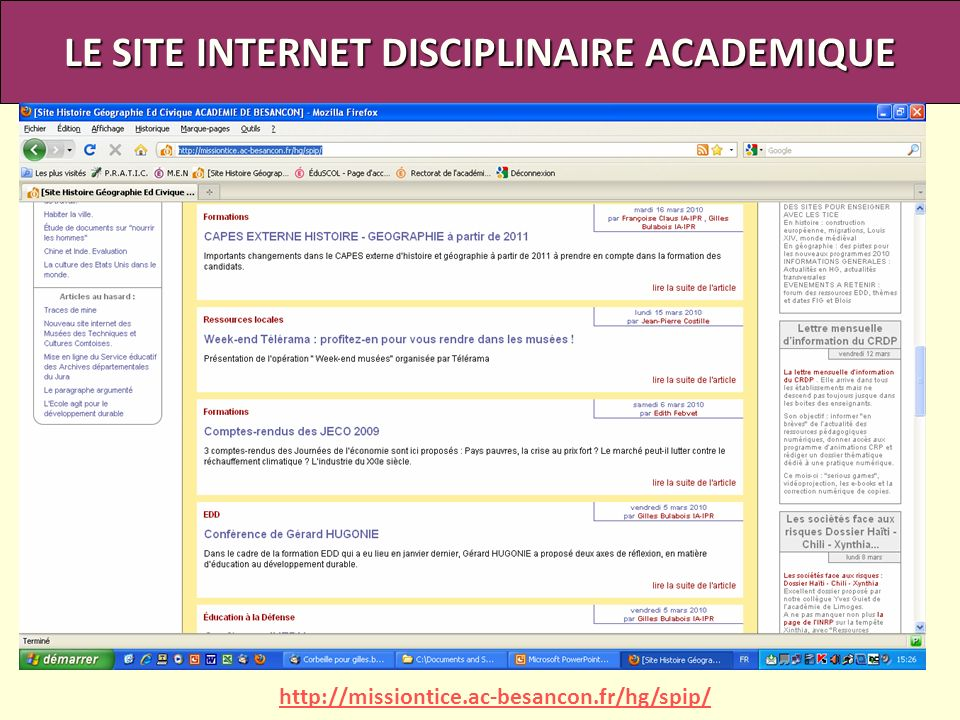 LE SITE INTERNET DISCIPLINAIRE ACADEMIQUE