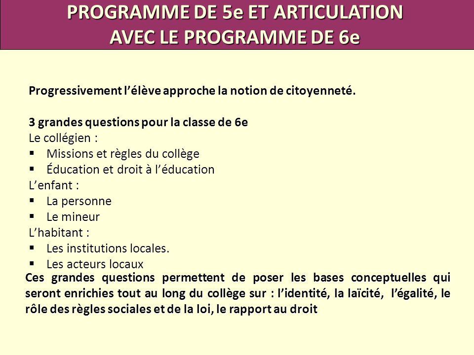 PROGRAMME DE 5e ET ARTICULATION
