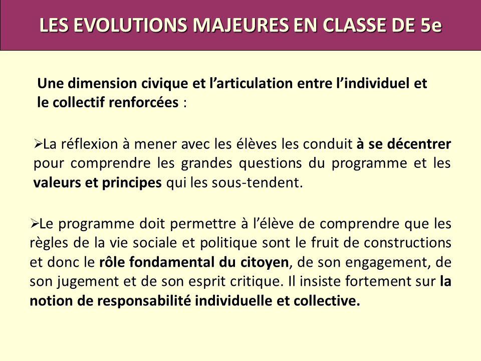 LES EVOLUTIONS MAJEURES EN CLASSE DE 5e
