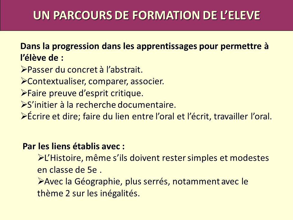 UN PARCOURS DE FORMATION DE L'ELEVE
