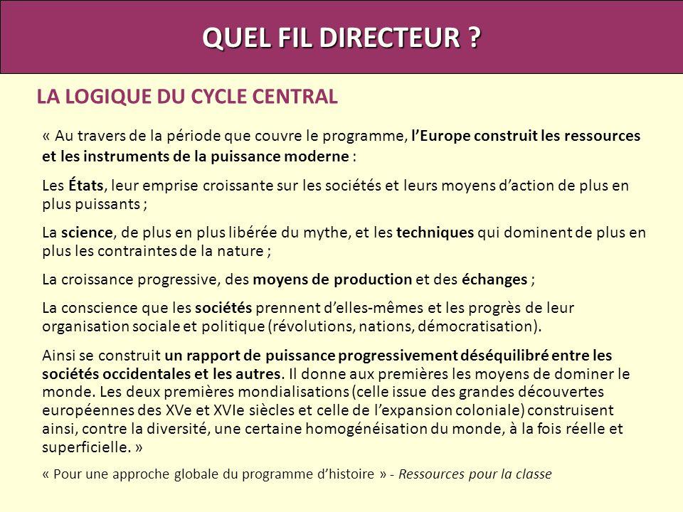 QUEL FIL DIRECTEUR LA LOGIQUE DU CYCLE CENTRAL