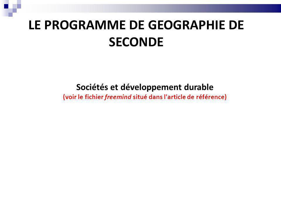 LE PROGRAMME DE GEOGRAPHIE DE SECONDE