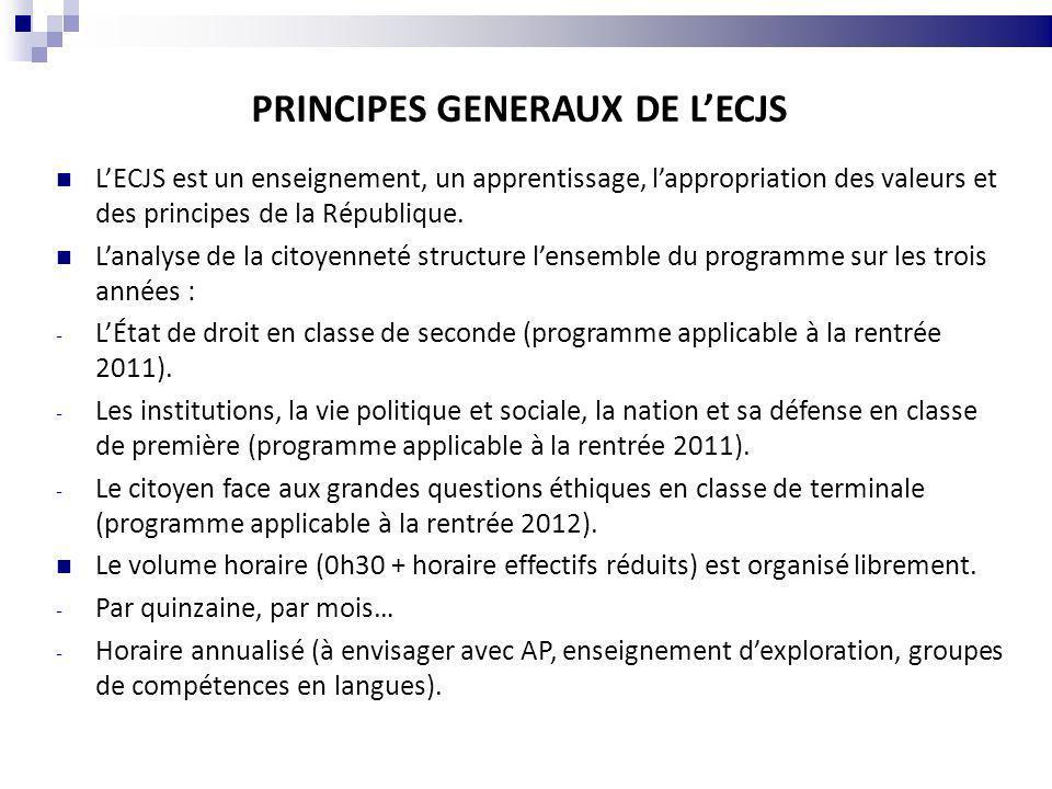 PRINCIPES GENERAUX DE L'ECJS
