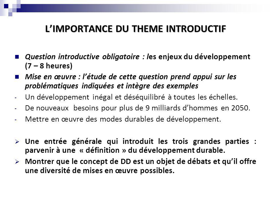 L'IMPORTANCE DU THEME INTRODUCTIF