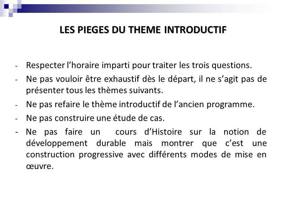 LES PIEGES DU THEME INTRODUCTIF
