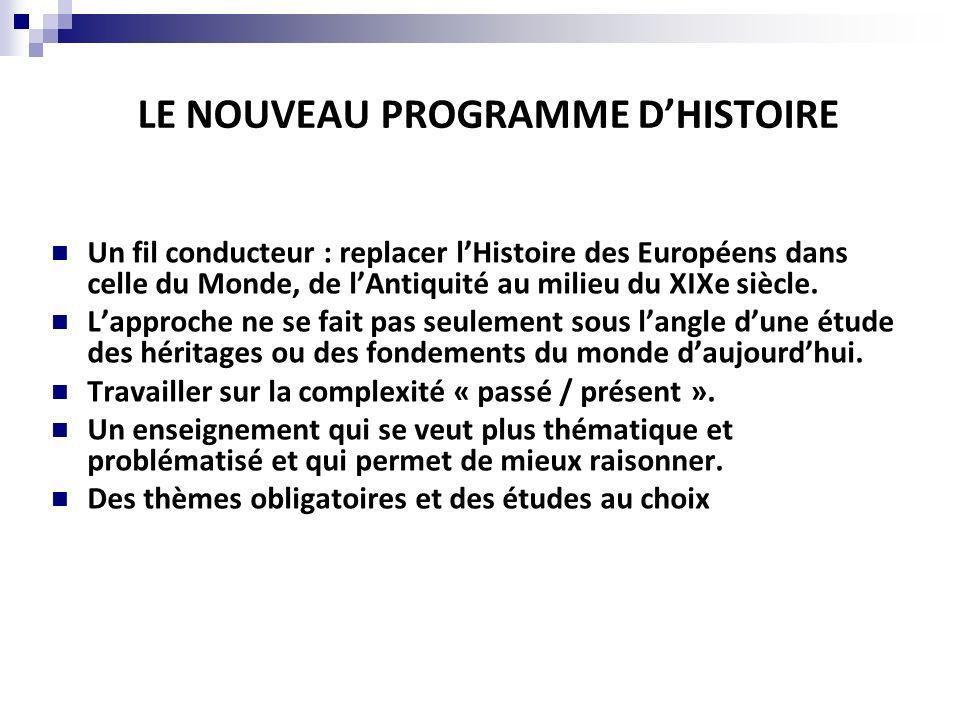 LE NOUVEAU PROGRAMME D'HISTOIRE
