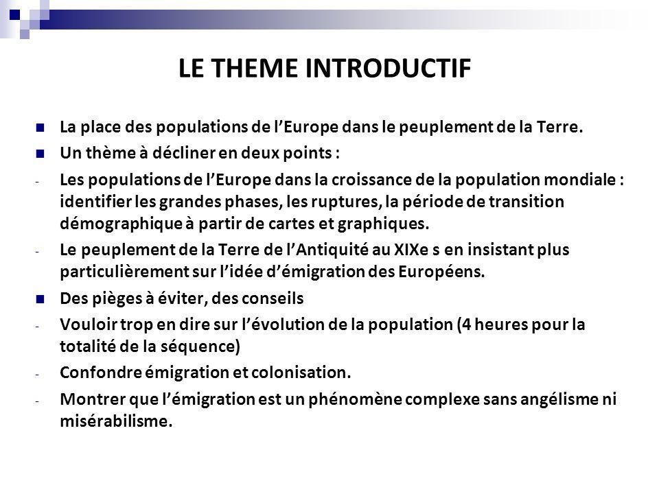 LE THEME INTRODUCTIF La place des populations de l'Europe dans le peuplement de la Terre. Un thème à décliner en deux points :