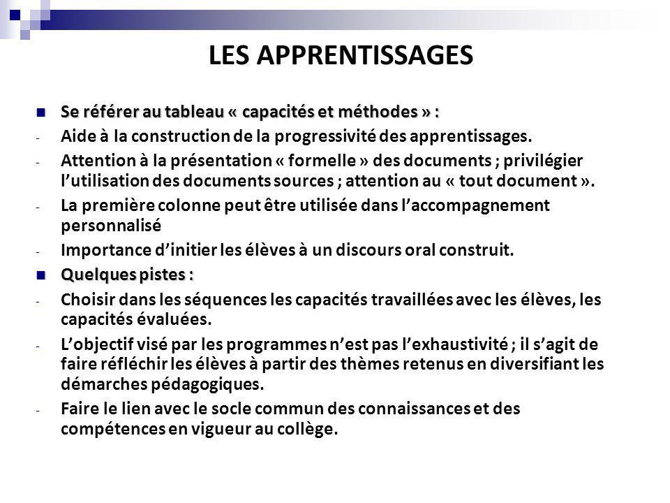 LES APPRENTISSAGES Se référer au tableau « capacités et méthodes » :