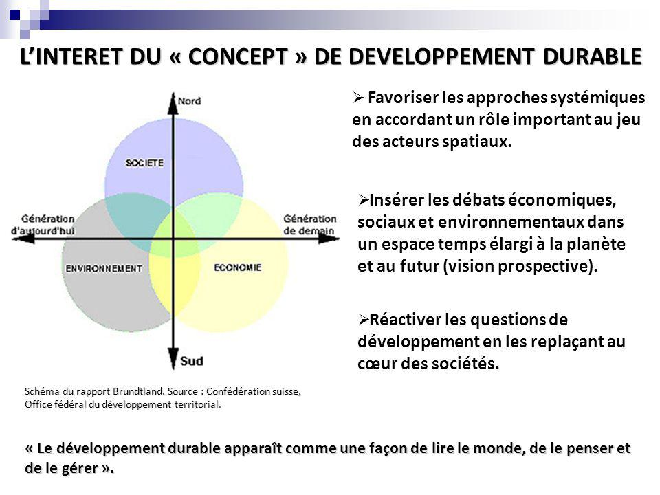 L'INTERET DU « CONCEPT » DE DEVELOPPEMENT DURABLE