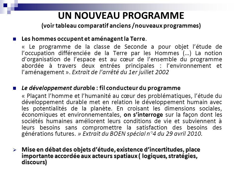 UN NOUVEAU PROGRAMME (voir tableau comparatif anciens /nouveaux programmes)
