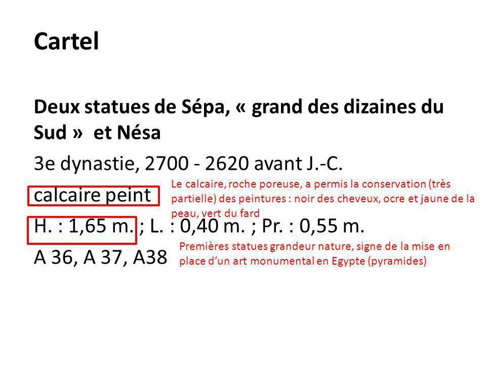 Cartel Deux statues de Sépa, « grand des dizaines du Sud » et Nésa