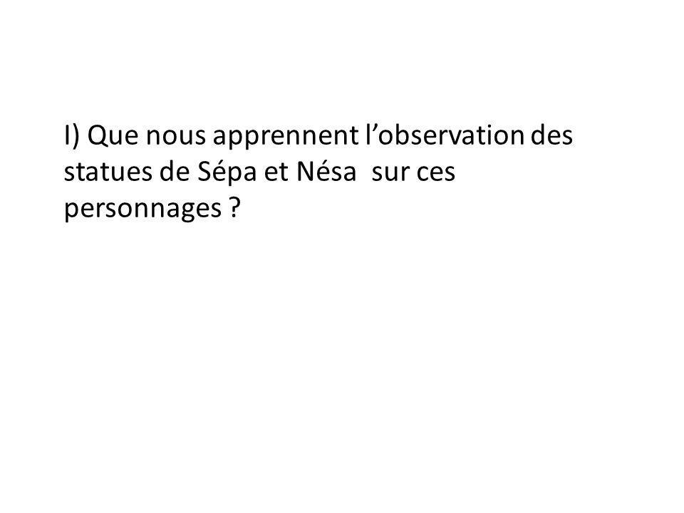 I) Que nous apprennent l'observation des statues de Sépa et Nésa sur ces personnages