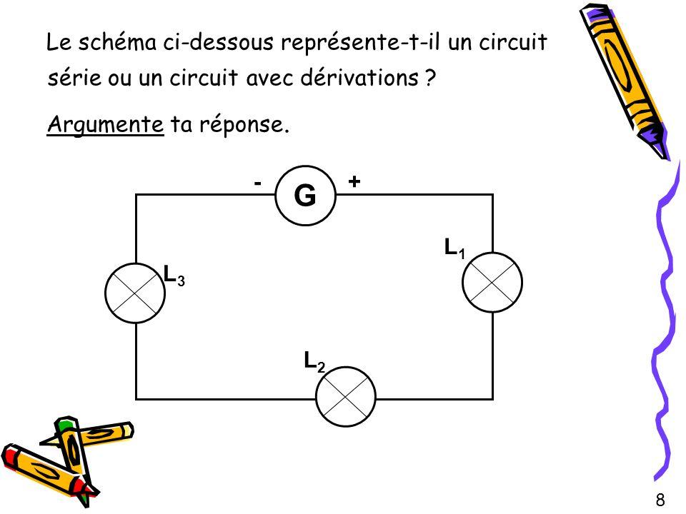 Le schéma ci-dessous représente-t-il un circuit série ou un circuit avec dérivations