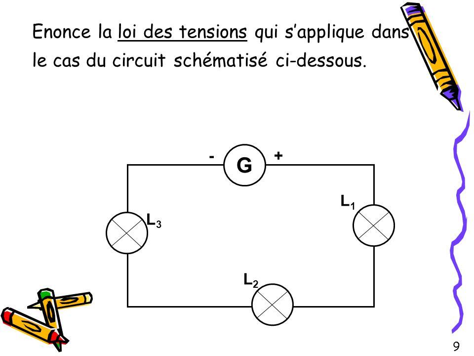 Enonce la loi des tensions qui s'applique dans le cas du circuit schématisé ci-dessous.