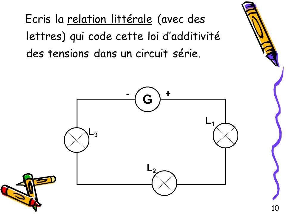 Ecris la relation littérale (avec des lettres) qui code cette loi d'additivité des tensions dans un circuit série.