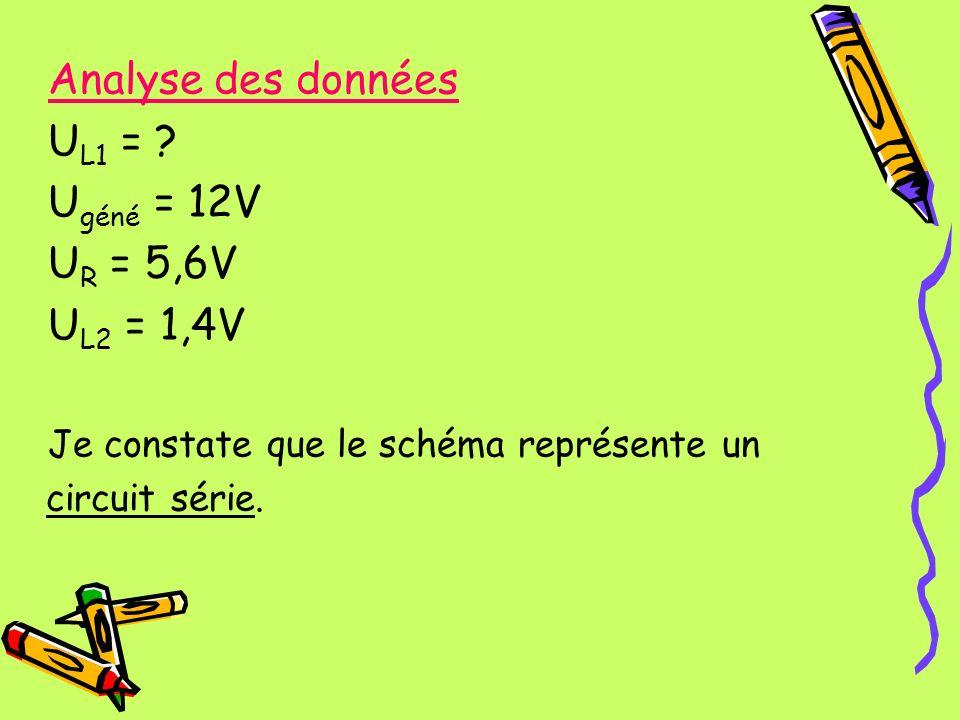 Analyse des données UL1 = Ugéné = 12V UR = 5,6V UL2 = 1,4V
