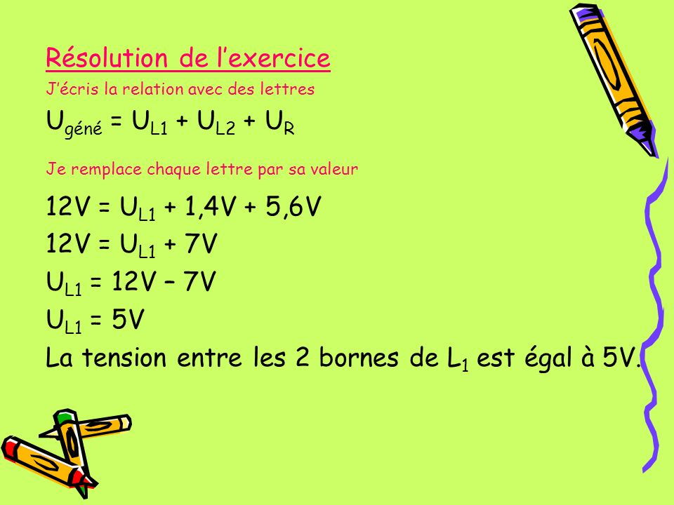 Résolution de l'exercice Ugéné = UL1 + UL2 + UR
