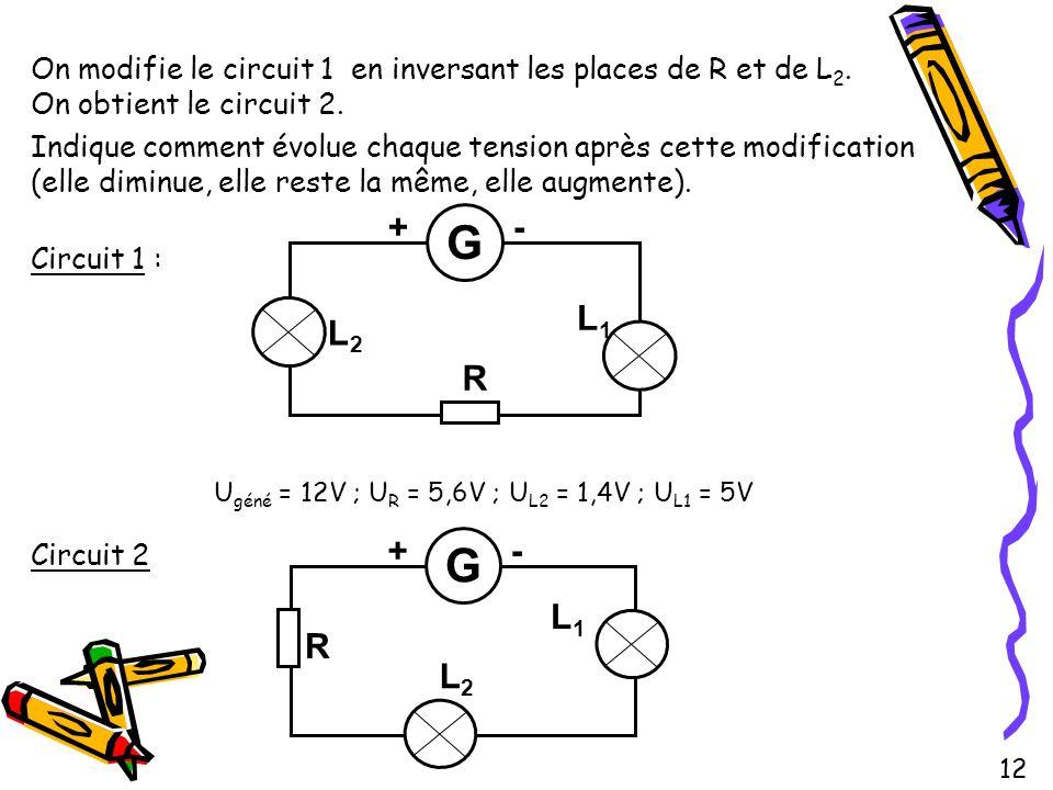 Ugéné = 12V ; UR = 5,6V ; UL2 = 1,4V ; UL1 = 5V