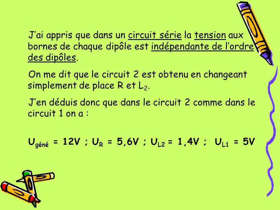 J'ai appris que dans un circuit série la tension aux bornes de chaque dipôle est indépendante de l'ordre des dipôles.