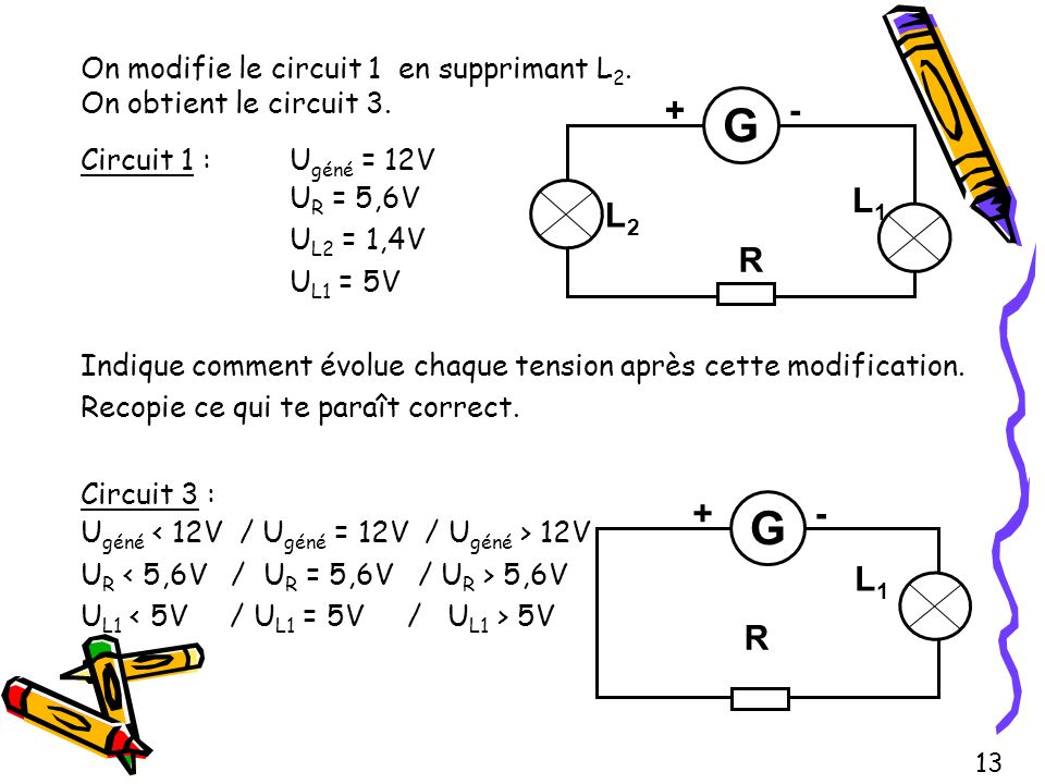 On modifie le circuit 1 en supprimant L2. On obtient le circuit 3.