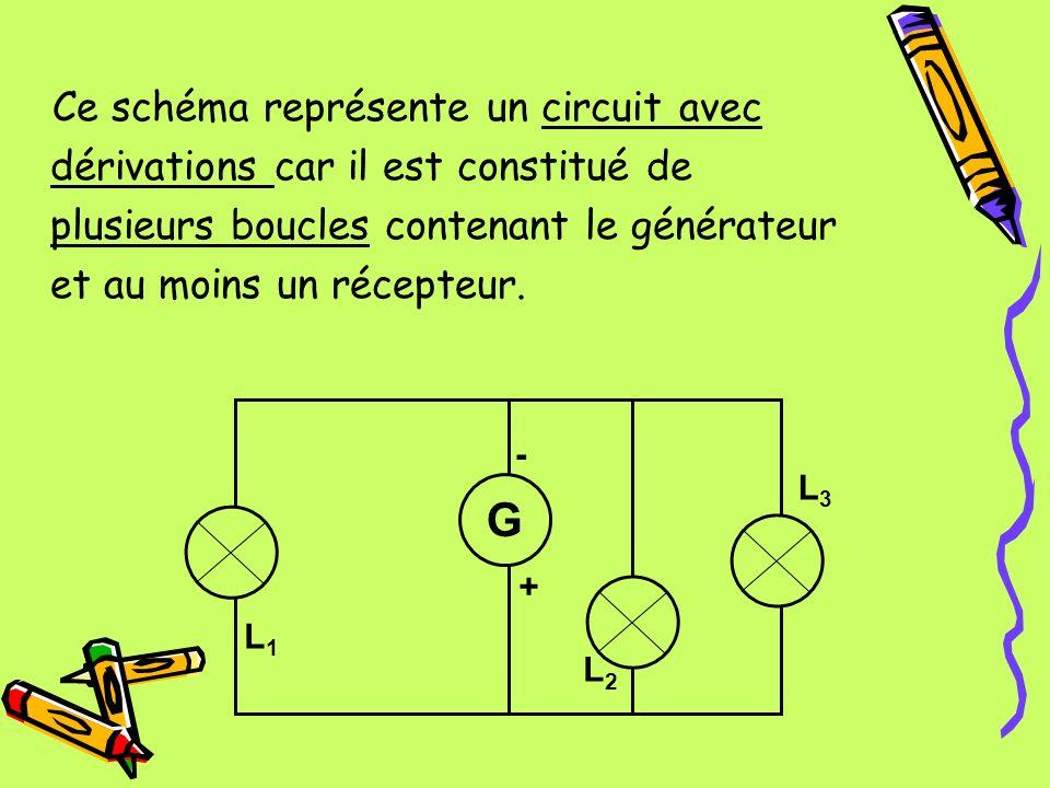 Ce schéma représente un circuit avec dérivations car il est constitué de plusieurs boucles contenant le générateur et au moins un récepteur.