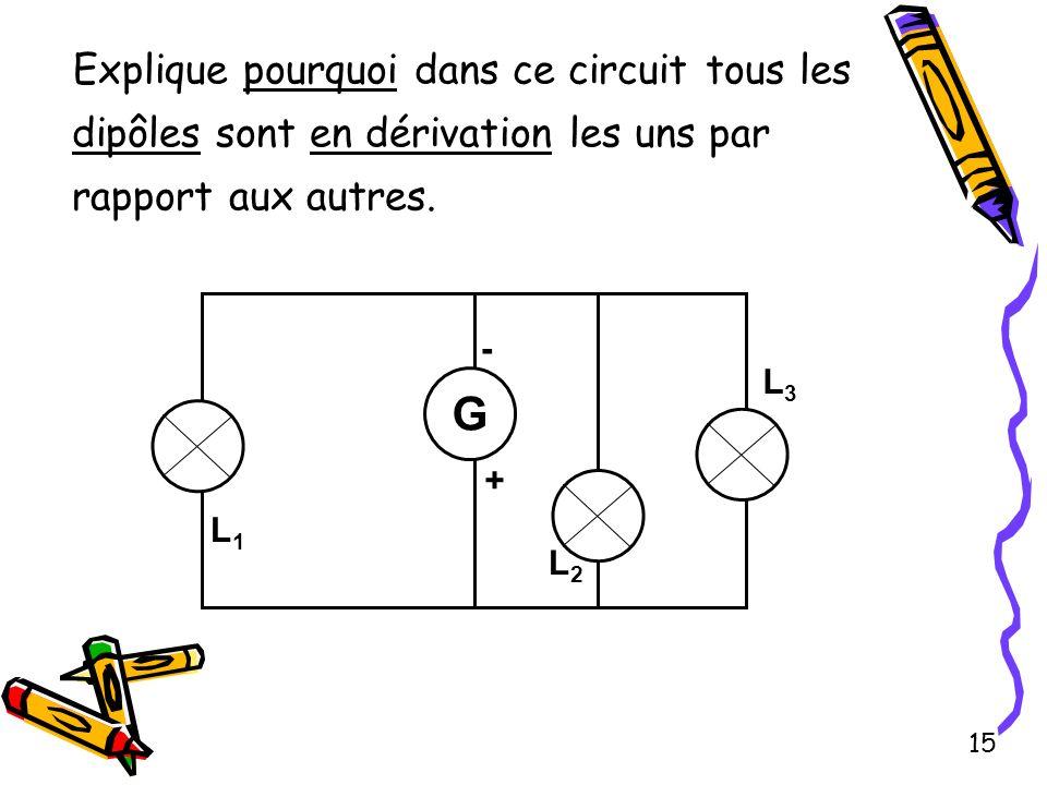 Explique pourquoi dans ce circuit tous les dipôles sont en dérivation les uns par rapport aux autres.