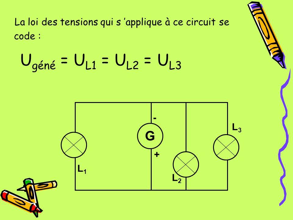 La loi des tensions qui s 'applique à ce circuit se code :