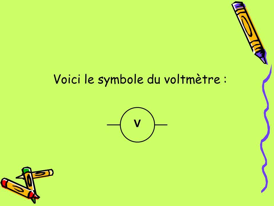 Voici le symbole du voltmètre :