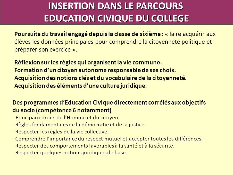 INSERTION DANS LE PARCOURS EDUCATION CIVIQUE DU COLLEGE