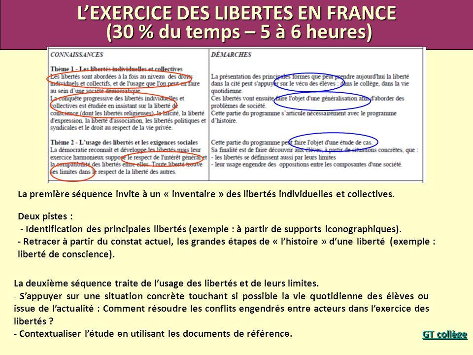 L'EXERCICE DES LIBERTES EN FRANCE
