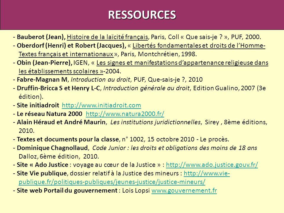 RESSOURCES - Bauberot (Jean), Histoire de la laïcité français, Paris, Coll « Que sais-je », PUF, 2000.