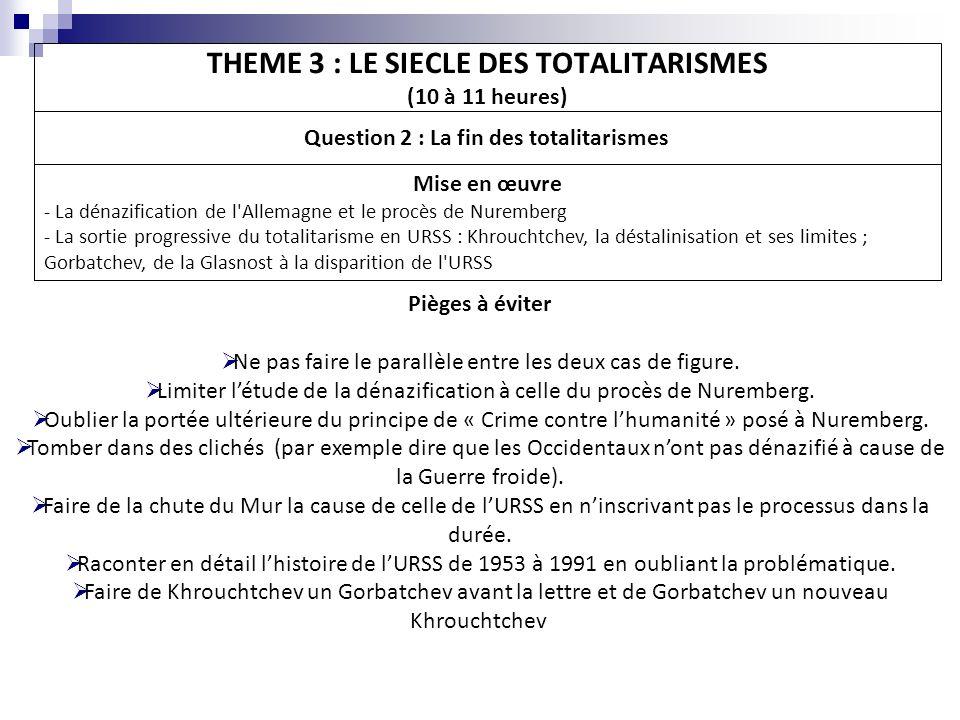THEME 3 : LE SIECLE DES TOTALITARISMES (10 à 11 heures)