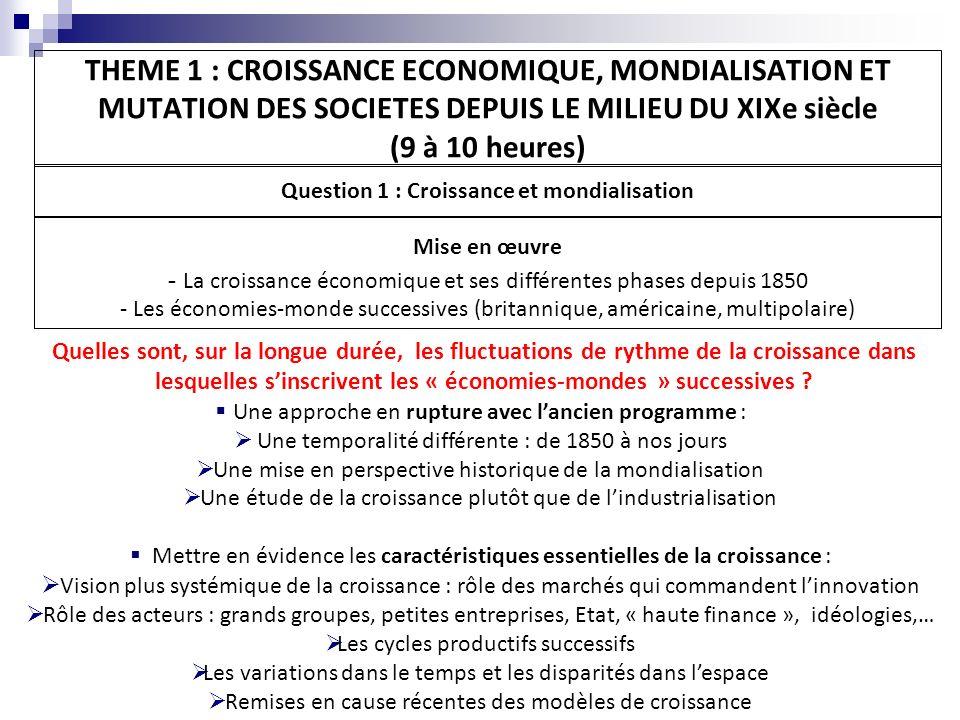 Question 1 : Croissance et mondialisation