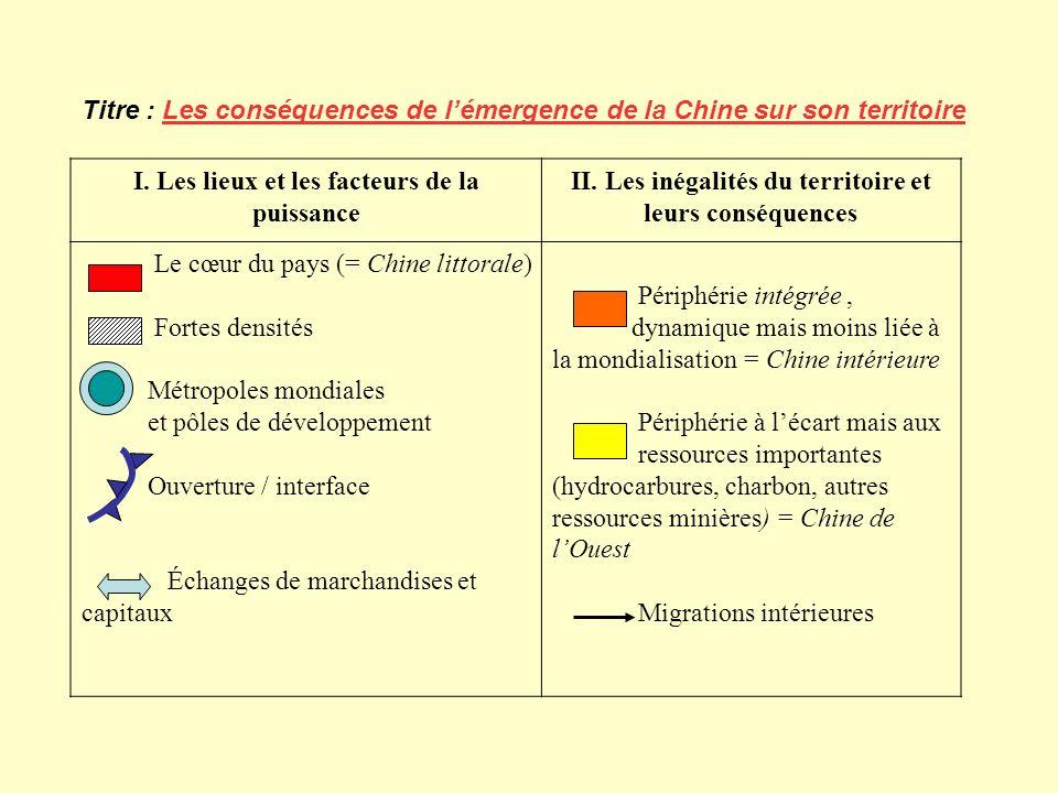 Titre : Les conséquences de l'émergence de la Chine sur son territoire