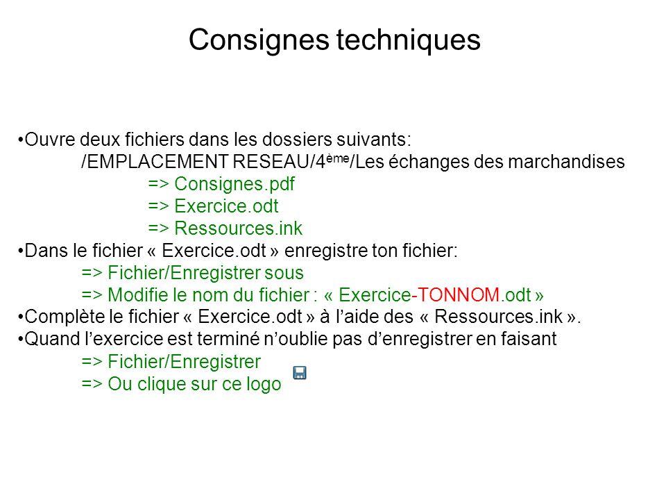 Consignes techniques Ouvre deux fichiers dans les dossiers suivants: