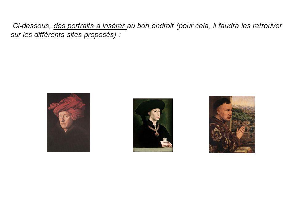 Ci-dessous, des portraits à insérer au bon endroit (pour cela, il faudra les retrouver sur les différents sites proposés) :