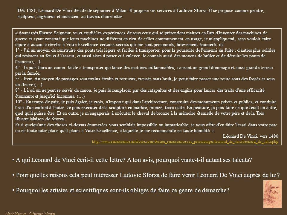 Dès 1481, Léonard De Vinci décide de séjourner à Milan