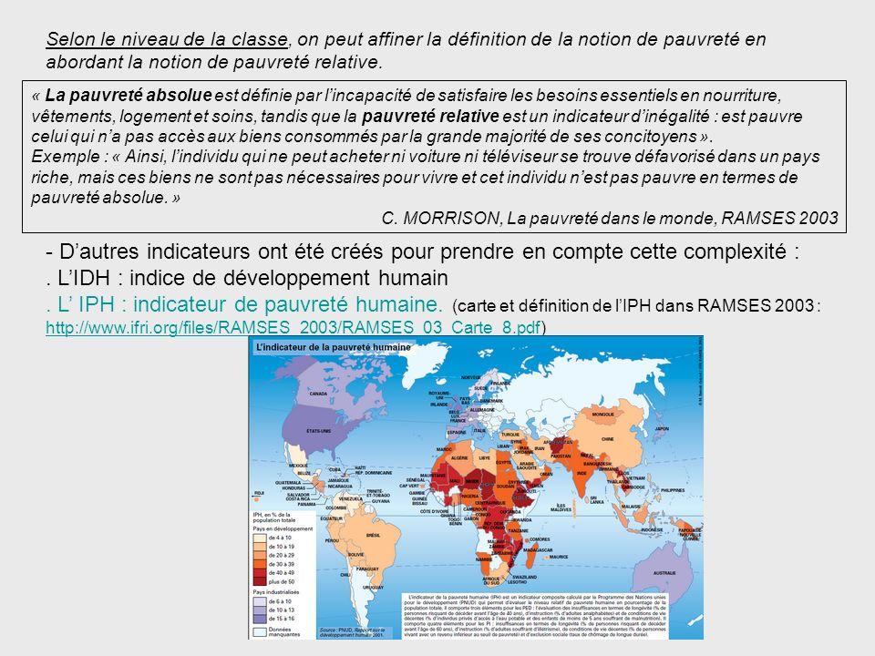 . L'IDH : indice de développement humain