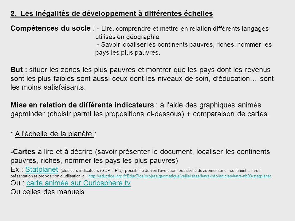 2. Les inégalités de développement à différentes échelles