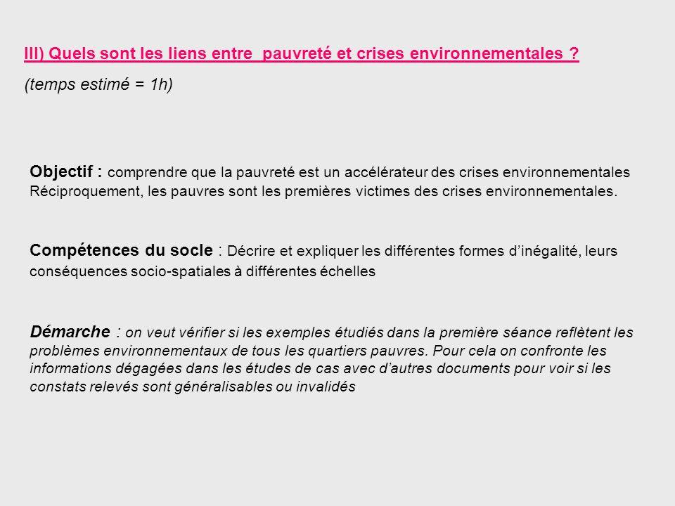 III) Quels sont les liens entre pauvreté et crises environnementales