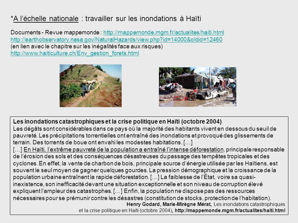 *A l'échelle nationale : travailler sur les inondations à Haïti
