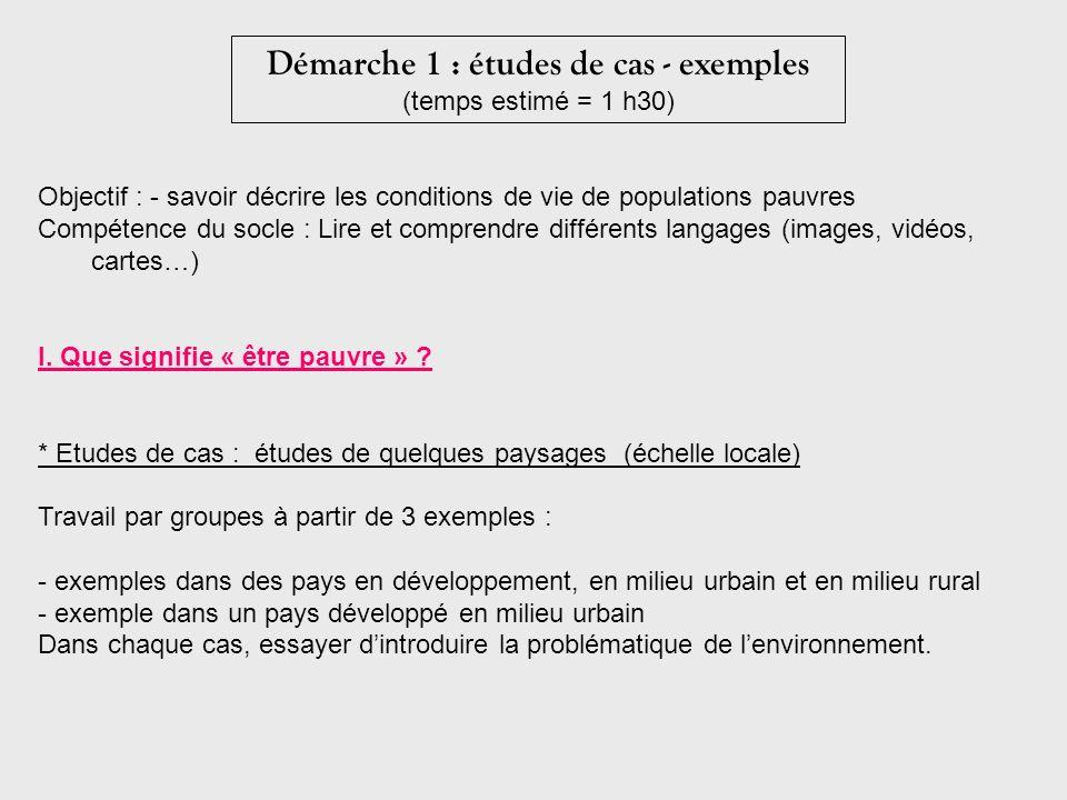 Démarche 1 : études de cas - exemples