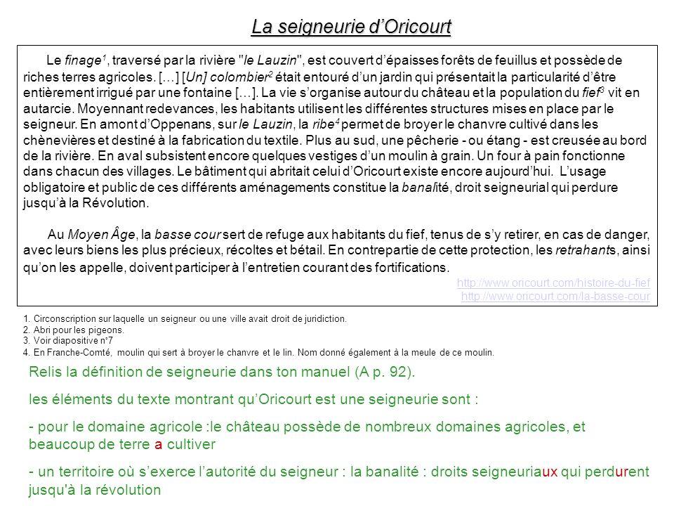 La seigneurie d'Oricourt